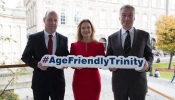 Minister Jim Daly, Sabina Brennan, Chair AFT and Patrick Prendergast (Provost, Trinity College) a