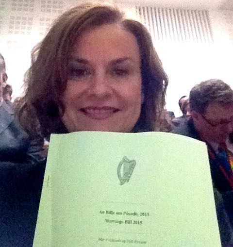 Sabina Brennan holding the Marriage (Equality) Bill