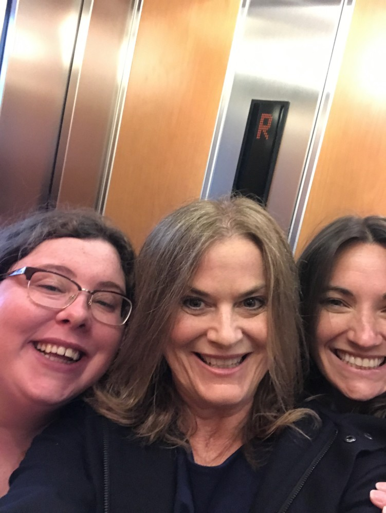 3 women in a lift