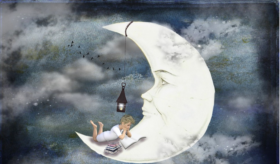 boy reading on the moon illustration