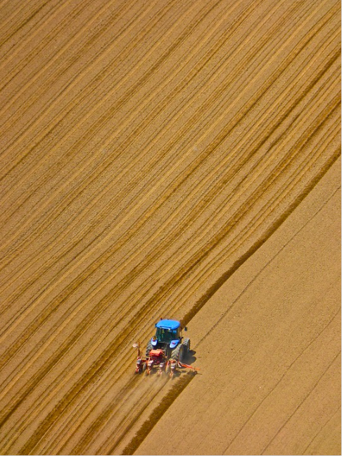Ploughed field and tractor