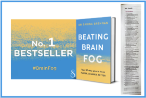 Text No 1 Bestseller. Newspaper cutting and Beating Brain Fog book cover
